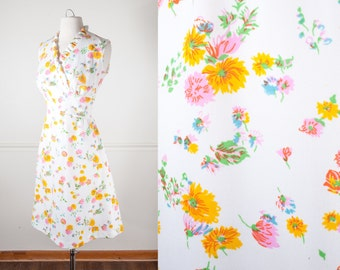 1960s Floral Mini Dress, Vintage 60s Dress, Boho Dress, 60s Mod Dress, White Dress, Daisy Dress, Summer Dress, Spring Dress, Floral Dress
