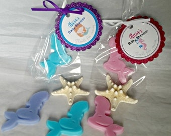 Mermaid Baby Shower Favor - Growing a Mermaid Soap Baby Shower Party Favor CUSTOM Made Party Supplies Personalized Glitter Tags, Pack of 10