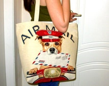 Fabric Handbags, Tote Bags, AIR Mail, Dogs Tote Bag, iPod Tote, Big Beach Bags, Tablet Red Hand Bag, Travel Bags, Great Gift for Birthday.