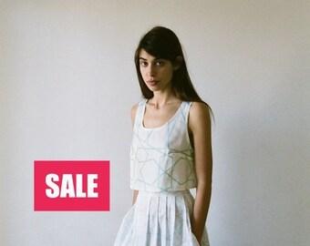 ON SALE 50% White pleated skirt, knee length skirt, high rise skirt, cotton skirt