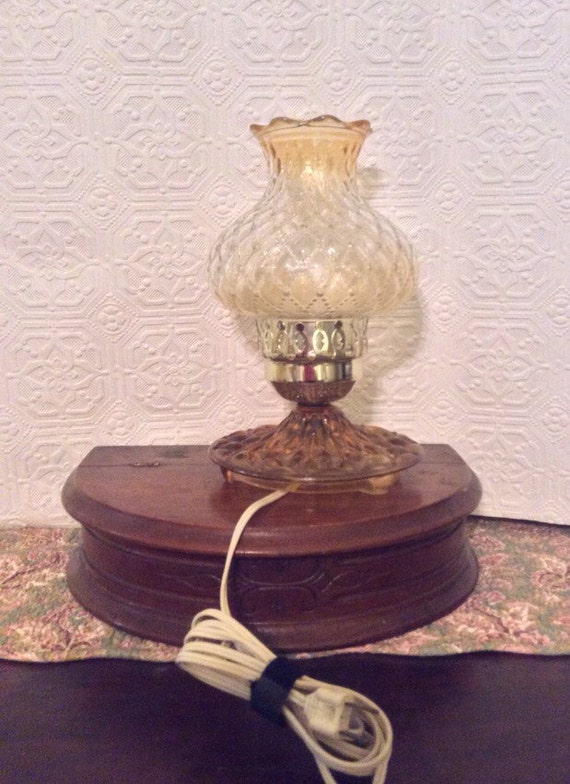 vintage table lamp bedroom lamp quilted glass lamp amber glass