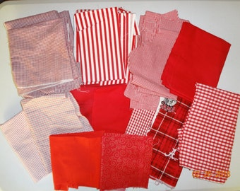 Assorted Grab Bag of Cotton Fabric Remnant Scraps - Shades of Red