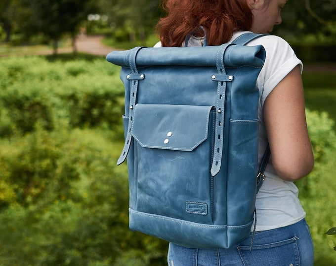 Blue leather backpack for Women. Laptop backpack. Travel leather rucksack. Hipster backpack. Laptop leather bag
