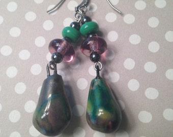 Ceramic drop glass bead Petra Scorched Earth dangle earrings