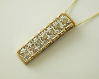 """Diamond necklace pendant 9 carat gold 0.28 carats 18"""" long 2.1 grams cbt"""