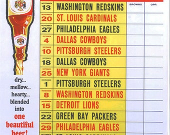 Cleveland Browns 1964 Schedule Poster  - FREE Shipping