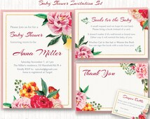 Floral Baby Shower Invitation Set, Roses Shower, Spring, PRINTABLE, Digital - Invitation, favor card, book request, diaper raffle - BSG003