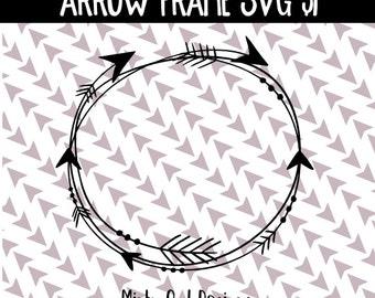 SVG Cut File - Cricut - Tribal Circle Arrow Frame Monogram SVG - Monogram Frame Cut File - Bohemian - Boho - Silhouette - Cutting Files