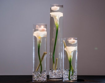 Submersible White Calla Lily  Floral Wedding Centerpiece with Floating Candles and Acrylic Crystals Kit