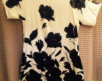 Vintage DNKY Dress - Purple Black and Beige Floral