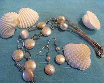 Freshwater Pearls and Sterling Mesh Frederic Duclos Designer Choker And Earrings Set
