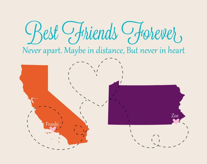 Christmas Best Friend Gift - Long Distance Gift Ideas for Friends Birthday Present State Map Unique Friends Forever Map Going Away Christmas