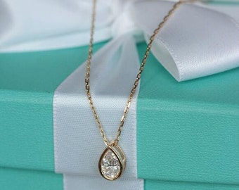 14K solid gold tear drop shinny cubic zirconia pendant TERD-CZP1002