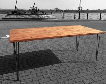 Vintage Hairpin Leg Kitchen Table Rustic Reclaimed Industrial Hairpin Legs Dining Table Handmade HandMade in UK