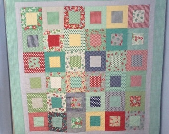 Modern patchwork quilt, bed quilt, sofa throw, lap quilt, picnic blanket.