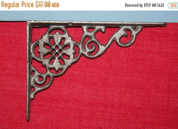 ON SALE 2pcs Shelf Brackets FLOWER Cast Iron By WePeddleMetal