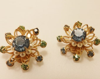Blue and Green Vintage Rhinestone Flower Clip On Earrings
