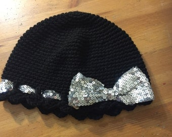 black beanie with a sparkly bow #017