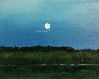 """Moonrise (original 5""""x7"""" landscape oil painting)"""