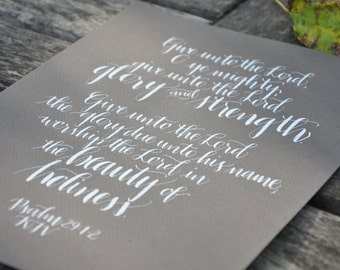 "8"" x 10"" quote in custom calligraphy"
