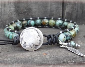 Handmade African Turquoise Southwestern Wrap Bracelet On Black Leather, Beaded Bracelet.