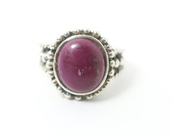 Thailand Silver Ring with Purple Gemstone in Women's Boho Purple Gemstone Indigo Violet Ring