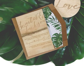 Wood wedding invitation. Tropical, beach, rustic wedding invitation. SAMPLE ONLY