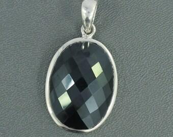 On Sale Faceted Black Spinel Gemstone Pendant, Solid Sterling Silver Jewelry, Black Gemstone Pendant, December Birthstone Pendant