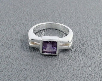 On Sale Amethyst Gemstone Ring - Bezel Set Wedding Gift Ring - Solid 925 Sterling Silver Ring Size 7 -February Birthstone Gemstone Ring