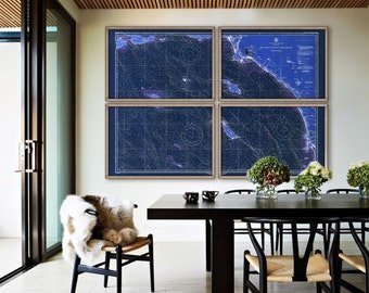 """South California Coast map 1948 old nautical chart, LA to San Diego in 1 or 4 prints up to 90x60"""" also navy blue - Limited Edition of 100"""