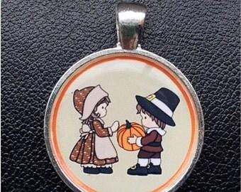 Back to School Sale Thanksgiving Pendant Pilgrims pendant pumpkin necklace Thanksgiving necklace Pilgrim necklace pendant