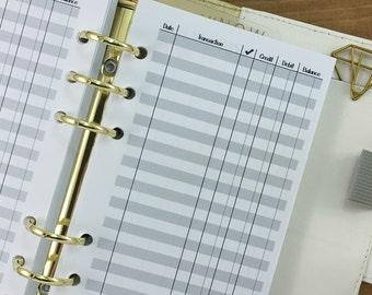Personal Checkbook Register printed planner insert - finances - record keeping - check statement - #223