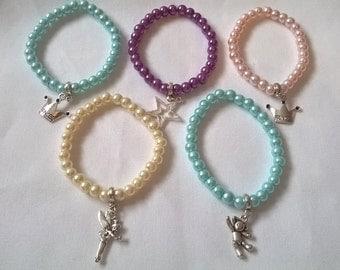 childrens charm bracelet, beaded bracelet,