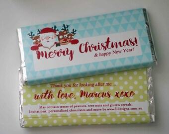 Christmas /  Corporate personalised chocolate bar bomboniere favour ** Minimum order of 20**