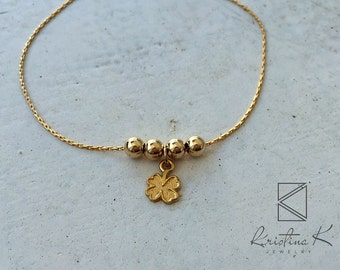 Gold Filled Lucky Bracelet | Gold Bracelet | Gold Beads Bracelet | Clover Luck bracelet | Gold Bead Bracelet | Gold jewelry | Summer Jewelry
