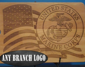 Celebrate America's armed forces, Military emblem and American flag design USMC Marine Corps, Army, Navy, Airforce, Coastguard cutting board