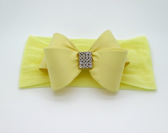 Baby Headband, Light Yellow Baby Headband, Baby Bow Headband, Newborn Headband, Baby Girl Headband, Nylon Headband, Bow Headband, 1034