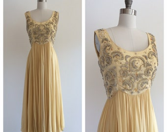 Vintage 1960's Silk Chiffon Yellow Beaded Gown