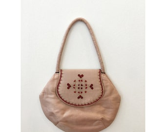Vintage Peach / Beige Made in India Silk Shantung bag with embridery