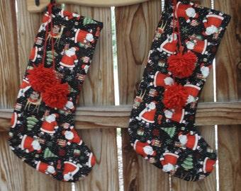 Santa Christmas stocking, quilted stocking, handmade stocking, fabric stocking, 18 inches long