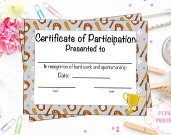 Baseball Certificate of Participation - Baseball Award - Print at Home - Baseball MVP - Baseball Certificate of Completion - Sports Award