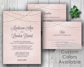 Printable Wedding Invitation PDF Set or Pick & Choose - String Lights Rustic Invite (Blush Pink OR Choose Your Colors!)