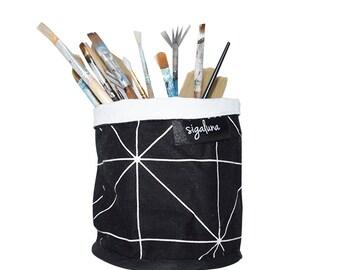 Soft Pot Fabric Bucket Geometric Black and white Soft Pot Fabric Bucket 100% Cotton fabric Nordic design Scandinavian style
