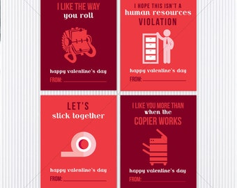 Office Humor Valentines - Coworker Valentines - Printable Valentine's Day Cards