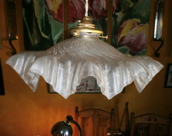 Original Vintage French light shade, clear glass, pendant, ceiling, Art Deco, Antique fixture, Shabby/Chateau Chic, 1920's/30's,