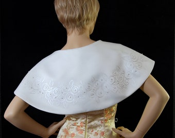 Bolero jacket short cape in Ivory Duchess satin hand painted. Exclusive