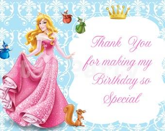 Instant Download, Aurora Thank you card, Sleeping Beauty, Disney Princess, Kid's Birthday Party thank you, Birthday thank you card