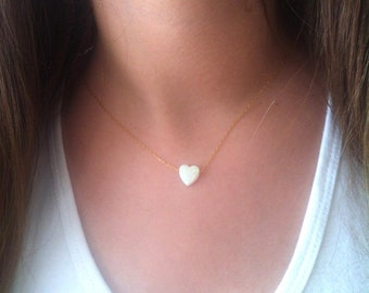 White Opal Heart Necklace, Tiny Heart Necklace, Gold Heart Necklace,Silver Heart Necklace, White Jewelry, Opal Love Necklace, Opal Jewellery