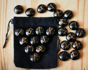 Elder Futhark Runes, 25 Piece Set, Black & Bronze