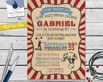 Printable Vintage Circus Invitation / Digital Carnival Birthday Invite